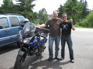 Richard Drolet from Montreal lovin' the V-Strom (a little tall for me).