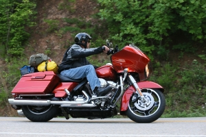 Ron ripping the Tail of the Dragon on a big Road Glide - started biking 3 years ago and has been all over hell and creation!