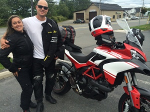 Carolina and Rafael Bottene from Cape Cod.  We shared a coffee at the Prissy Pig Deli in Antigonish.  They followed my dream bike vacation step for step and are having a blast on a brand new Multistrada.  Have fun kids!!!
