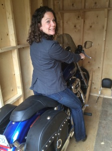 My wife Shauna tries my cousin Shauna's bike on for size - she looks great on it!