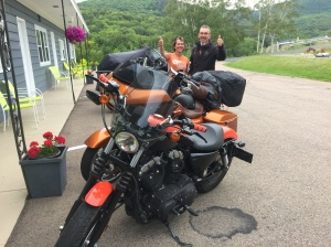 Bruno Vanasse and Louise Filiom - Coaticook Quebec. Louise riding her brand new Sporty! They were enjoying their stay at the Cornerstone Motel.
