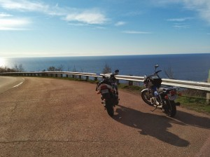 Anthony and Dave's bikes atop Mackenzie Mountain, I think. Gorgeous day early in the season!
