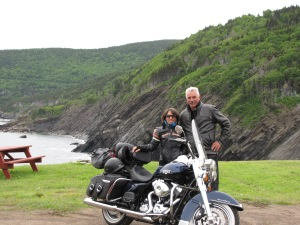 Karen and John Fleischmann took the new Road King down the Meat Cove rode - quite the dirt bike!