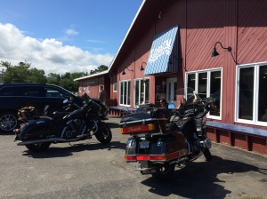 Parked next to a beautiful Harley at Coastal Restaurant and Pub, where he bought a custom hat. Six glorious hours on two wheels.